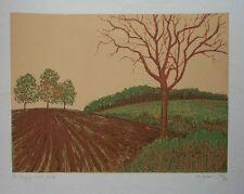 vintage silk screen - Ploughed Field, 48x36cm- limited edition farm land prints