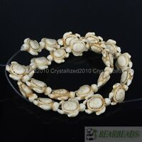 """White Howlite Turquoise Carved Turtle Spacer Loose Crafts Beads 14mm x 17mm 16"""""""
