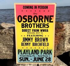 TWO Original 1964 Osborne Brothers Benny Birchfield Poster Playland Park Pa VTG