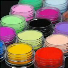 18 Colors Acrylic Nail Art Tips UV Gel Powder Dust DIY Decoration Set Manicure !