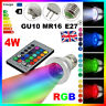 MR16 E14 E27 GU10 4W RGB LED 16 Color Change Spot Lights Bulb + 24Key IR Remote
