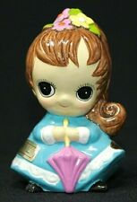 "Vintage Josef Originals April Birthday Big Eyed Girl 3 1/4"" w/ Stickers Cute!"