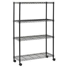 New Black Commercial 4 Tier Shelf Adjustable Steel Wire Metal Shelving Rack