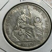 1869 YB PERU SILVER UN SOL CROWN COIN