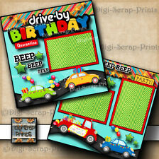 QUARANTINE DRIVE BY BIRTHDAY PARADE  2 premade scrapbook pages digiscrap #A0328