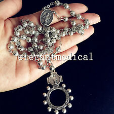 SILVER Rose Beads AVE MARIA ROSARY AND RING Crucifix Cross catholic necklace Box