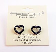 Black heart earrings outline crystals sparkle small base metal post