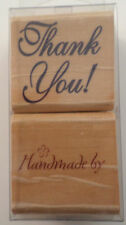 Stamp Craft Handmade By Thank You Wooden Rubber Stamp Set #440D384
