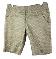 Idra Shorts Sz 4 Small Nude Tan Beige Khaki Gold Knee Length Floral Linen