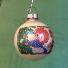 MID CENTURY Glass Ball CHRISTMAS Ornament VTG Raggedy Ann & Andy  Signed