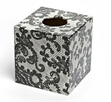 Blacklace Tissue Box Cover wooden handmade decoupaged uk