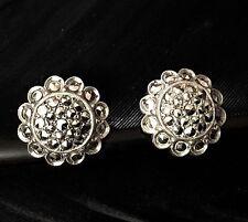 Deco Marcasite Flower Post Earrings Authentic Antique Estate Sterling Silver Art