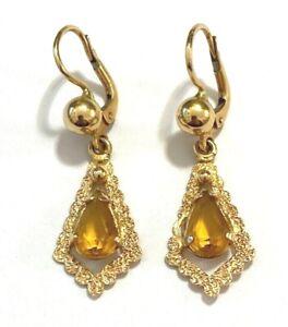 Ohrhänger 750er Gold + Citrin Tropfen Ohrringe 18 Karat Roségold 3,9 cm