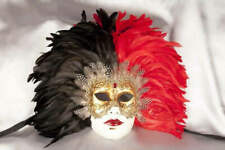 Red Volto Piuma Piena - Two Colour Feathers on Gold Masked Face for Venetian Bal