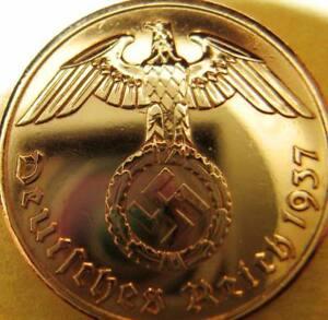 Nazi German 2 Reichspfennig 1937-Genuine Coin Third Reich-EAGLE-SWASTIKA-RARITY