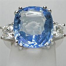 Ceylon Sapphire 13.20 ct Unheated Untreated Diamond Ring 18K White Gold