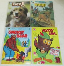 LOT OF 8 OLD UNUSED COLORING BOOKS * SMOKEY BEAR * WOODSY OWL * BENJI  * DISNEY