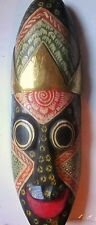 "Vintage African Wood Mask Painted (14.5"" high x 4.5"" wide) Wall Decor  Very Good"