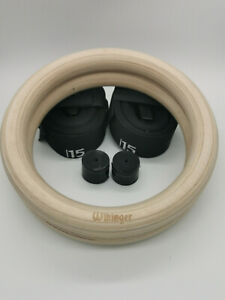 WIKINGER Olympic Gymnastics Crossfit Rings Numbered Straps Birch Wood 32mm 28mm