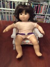 "American Girl 15"" Bitty Baby Twins Doll Brunette Hair Brown Eyes & Booster Chair"