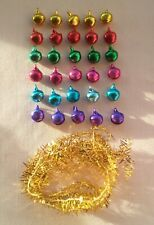 DOLLS HOUSE  **30** JINGLE BELL CHRISTMAS  TREE BAUBLES+3ft,900mm OF GOLD TINSEL