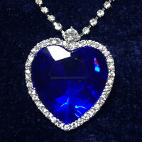 14K White Gold Large Blue Heart Sapphire Crystal CZ Halo Pendant Necklace