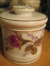 Vintage Dale's Jewelers Schenectady NY Ceramic Covered Trinket Jewelry Box Roses