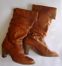 FRYE DORADO Natural Leather Slouch Foldover Top Western Boots Ladies Size 9