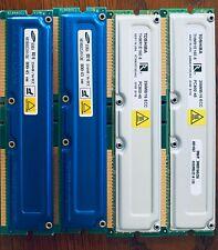 Lot of 1GB KIT 4 X 256MB  ECC RDRAM PC800-45 800MHz RambusMemory Modules