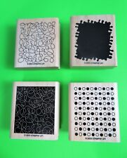 Rubber Stamps On Wood Set of 4 By Stampin' Up! Textures By Design 2003 IOB EUC!