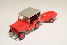1:43 SOLIDO JEEP WILLYS POMPIERS FIRE TRUCK WITH TRAILER EXCELLENT CONDITION