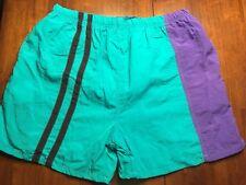 Vtg 80s 90s Surf Odyssey Drawstring Swim Trunks Large Turquoise Purple Black