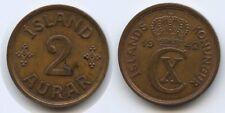 G0670 - Iceland 2 Aurar 1942 KM#6.2 XF Christian X.1912-1944 Island