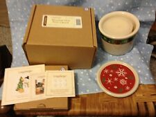 Longaberger Holiday One Pint Crock, Lid and Vanilla Candle - New