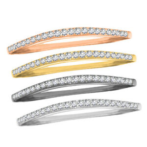 14k Gold Finish Brilliant Round Clear Edgeless Chevron Sterling Silver Band Ring