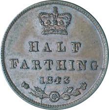 More details for uk ceylon 1/2 half farthing coin 1843 ef die crack on reverse error coin