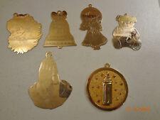 Vintage Gloria Duchin Brass Christmas Ornaments Lot of 6 Usa Baby 1st Christmas