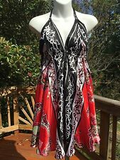 New_Beautiful Boho Printed Silky Satin Halter Scarf Dress_Free Size