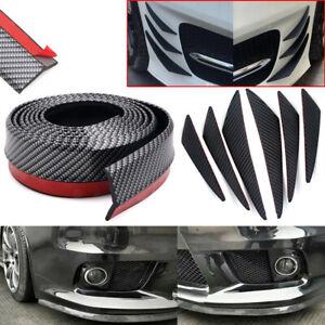 Universal Black Carbon Fiber Car Front Bumper Spoiler Fins Canards Protector Lip