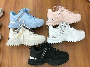 Ladies Womens Lace Up Trainers Running Flats Comfy Fitness Gym Sports Shoes Size