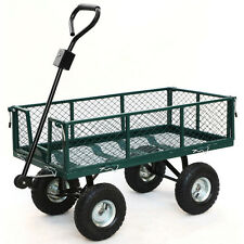 Heavy Duty Utility Cart Garden Wagon Lawn Wheelbarrow Steel Trailer Yard Green