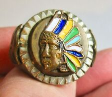 Vintage Mexico Enameled Indian Chief Heavy Biker Rocker Ring Size 10 Stamped