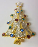 Large Gorgeous Signed Swan Swarovski Multi-Color Crystal Christmas Tree Brooch