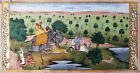 Fine Indian Antique Mughal School Gouache watercolour Miniature hunt scene 19thc