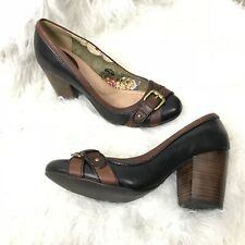 FOSSIL Chunky Block Heels Black Brown Leather Buckle Detail Women Shoes Size 9