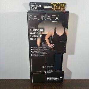 "NEW SaunaFX 10"" Neoprene Waist Trimmer Belt 10"" Wide 46""Long - Black Damaged Box"