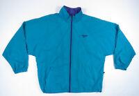 Vintage 80s 90s Reebok Teal Full Zip Nylon Mens Windbreaker Track Jacket XL