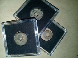 """Palembang / Malay """"Pitis """", lot of 3 coins, mix varieties + Free: 3 coin holders"""