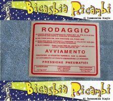0653 TARGHETTA ADESIVO NORME RODAGGIO ROSSA VESPA 180 200 RALLY