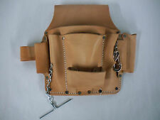 Electricians Tool Pouch For Belt Quality Saddle Leather 6 Pockets New